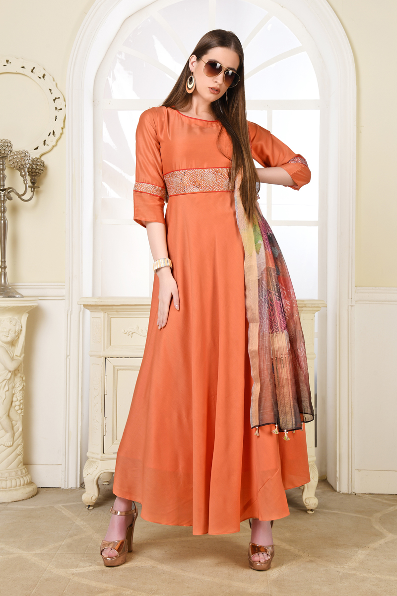 Exclusive Orange Color Kurti With Dupatta