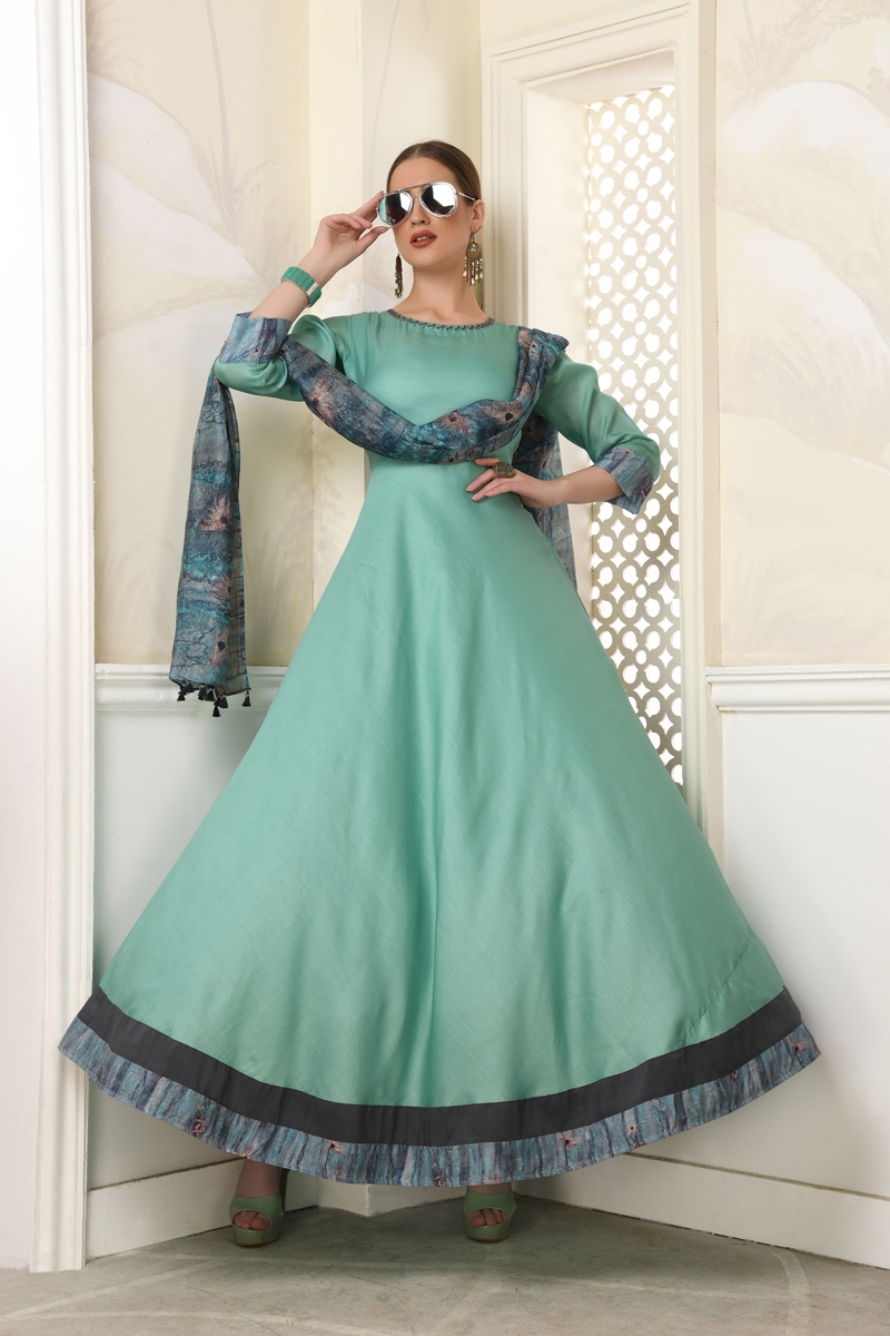 Exclusive Sea Green Color Kurti With Dupatta