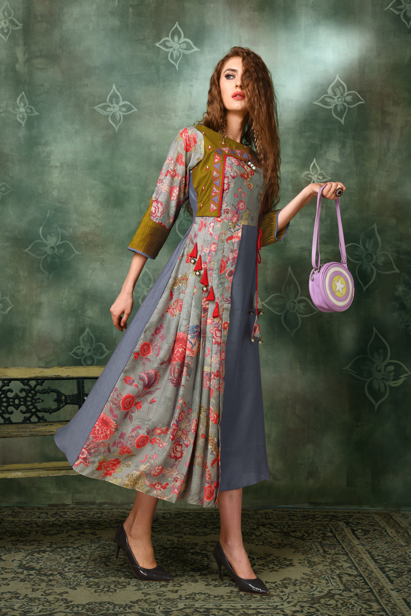 Exclusive Multi Color Heavy Designer Fancy Fabric Kurti