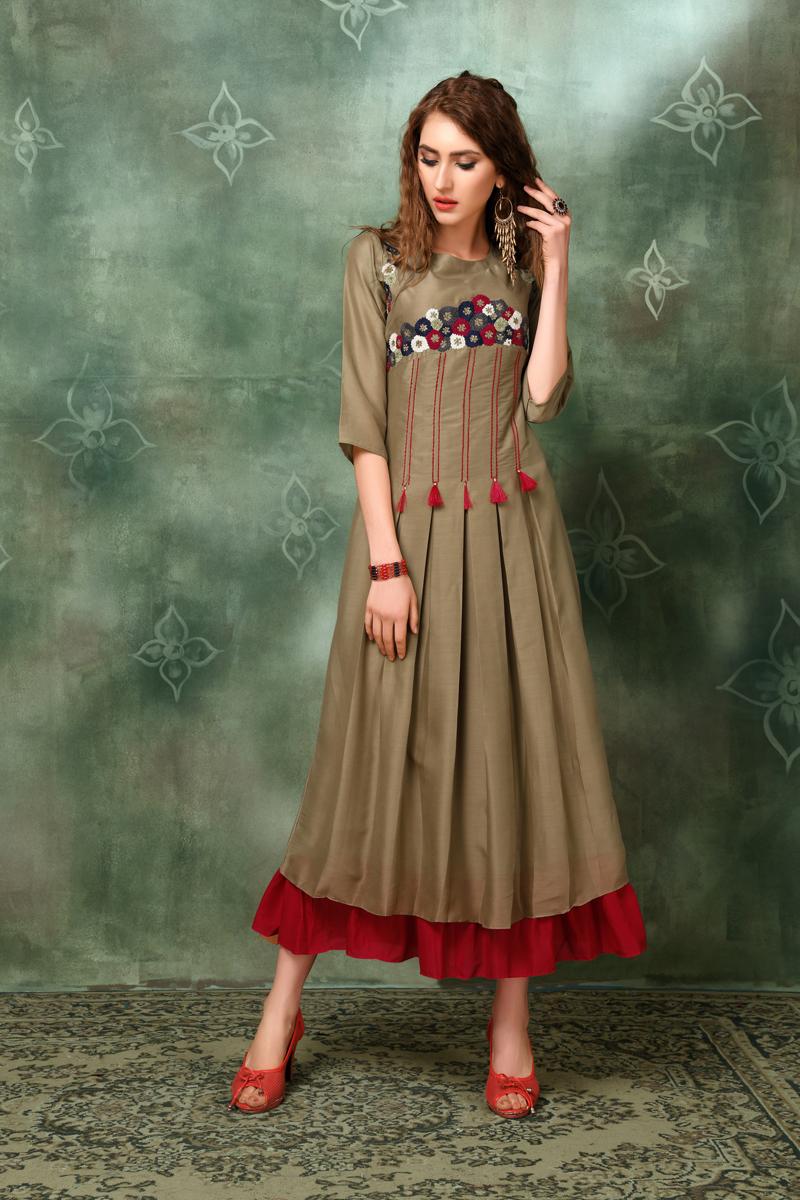 Exclusive Dark Beige Color Heavy Designer Fancy Fabric Kurti