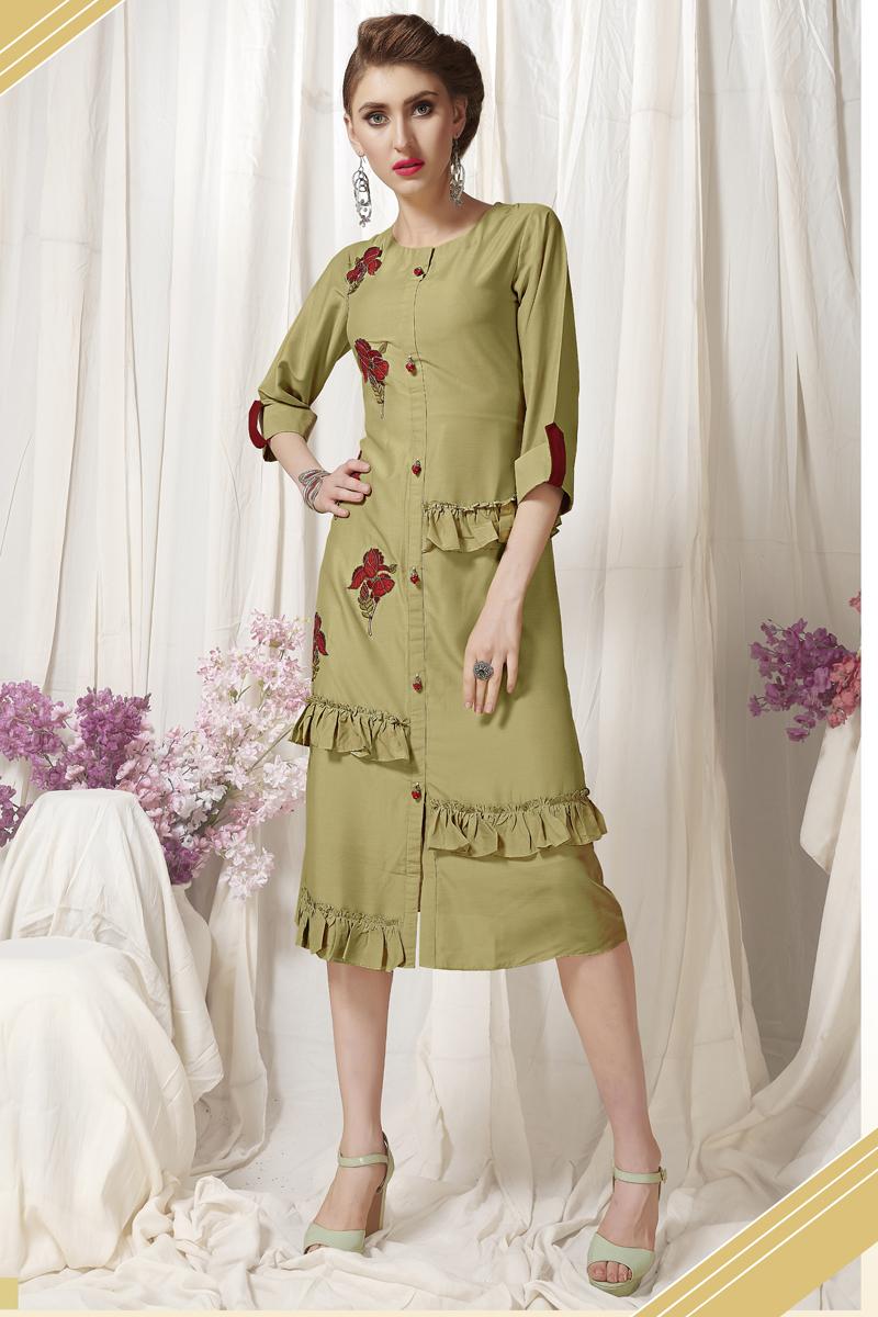 Exclusive Khaki Color Heavy Designer Fancy Fabric Kurti