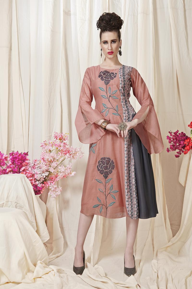 Exclusive Pink Color Designer Fancy Fabric Kurti