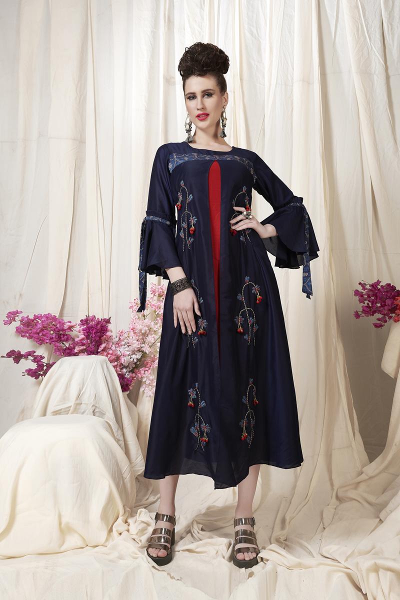 Exclusive Navy Blue Color Heavy Designer Fancy Fabric Kurti