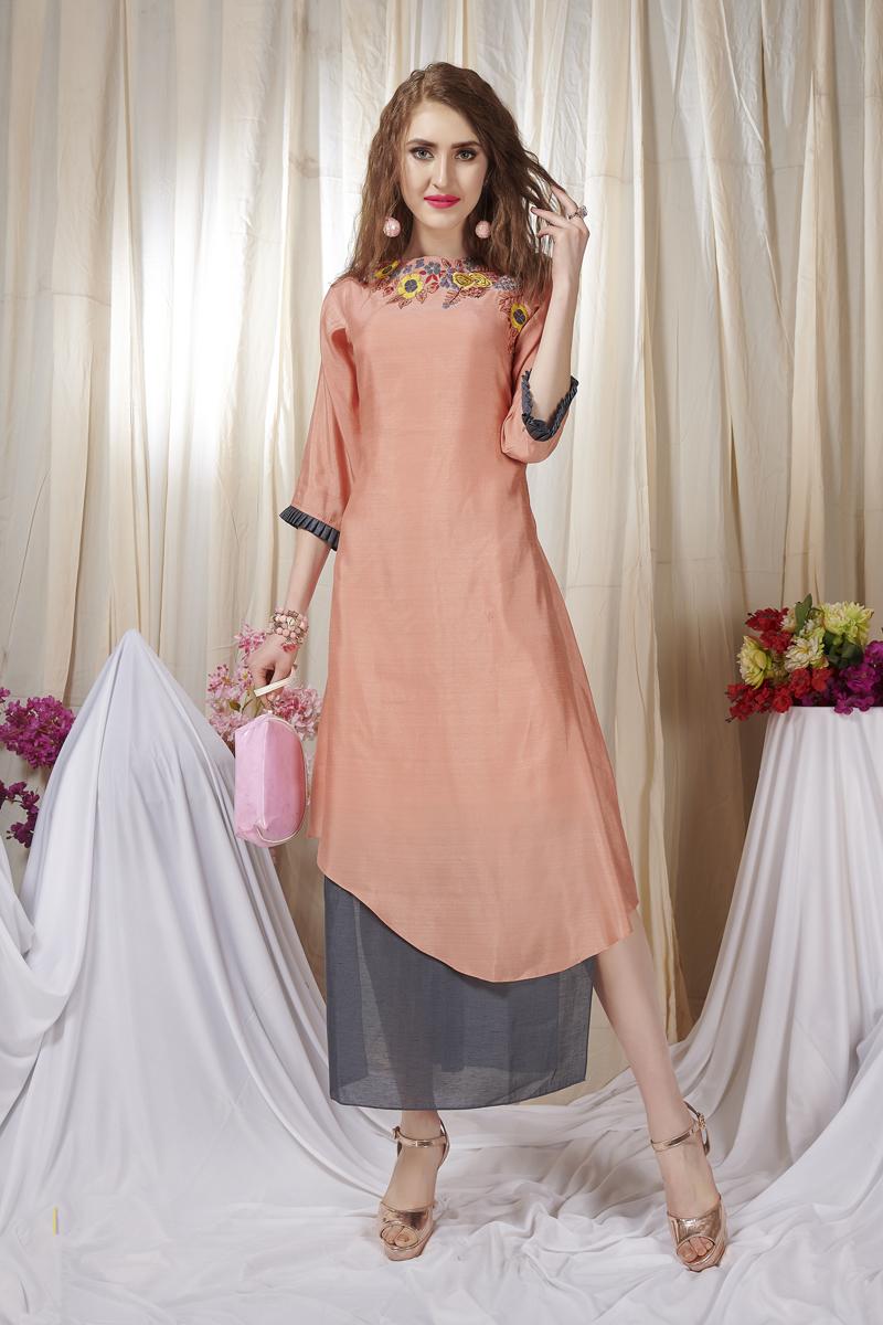 Exclusive Salmon Color Heavy Designer Fancy Fabric Kurti