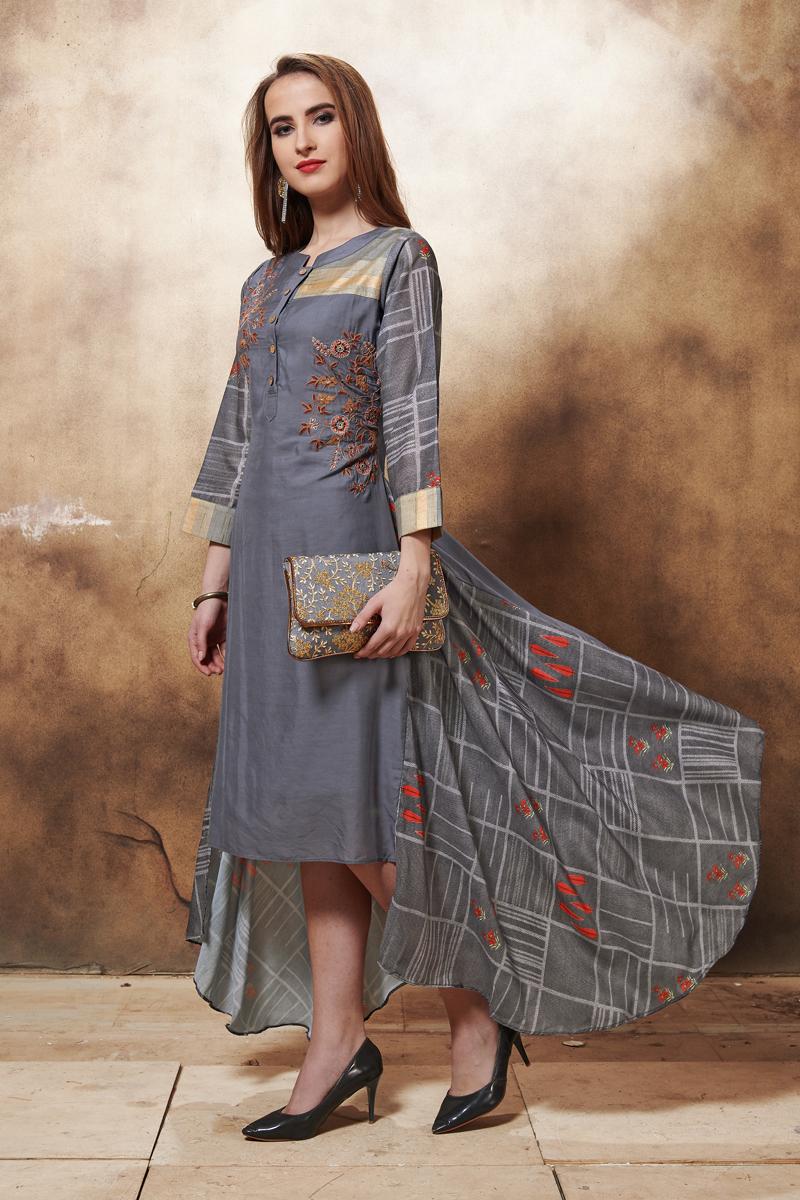 Exclusive Grey Color Heavy Designer Fancy Fabric Kurti