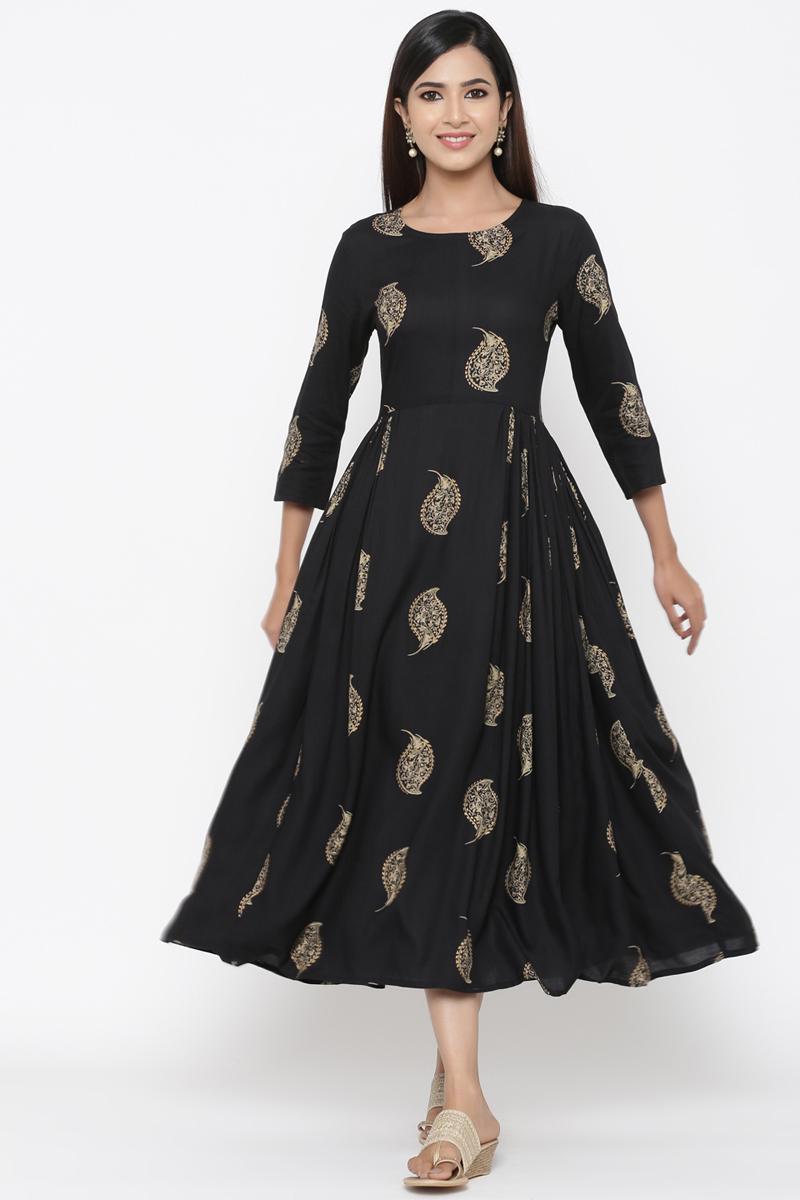 Exclusive Black Color Floral Printed Anarkali Kurti