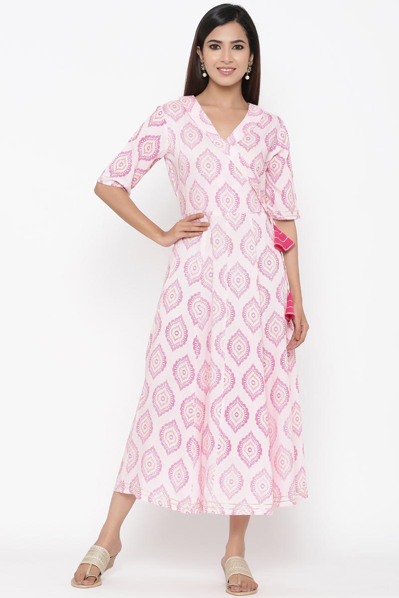 Exclusive Pink Color Floral Printed Anarkali Kurti