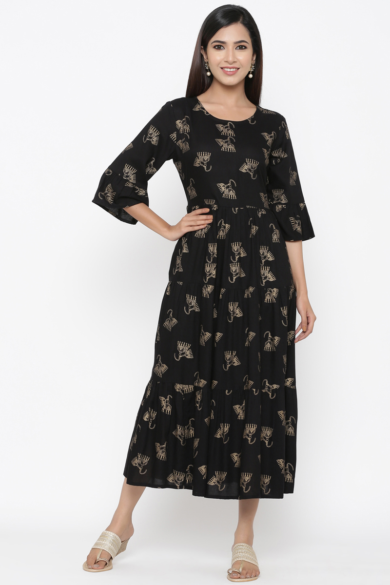 Exclusive Black Color Floral Printed Kurti