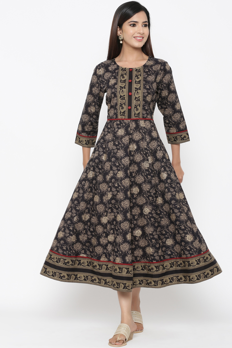 Exclusive Black Color Printed Anarkali Kurti