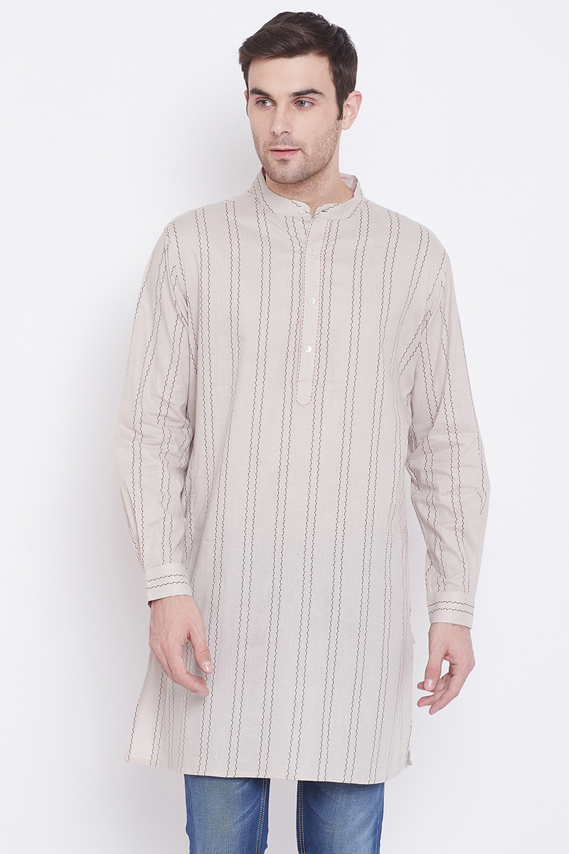 Sangeet Wear Cotton Fabric Kurta In Off White Color For Men