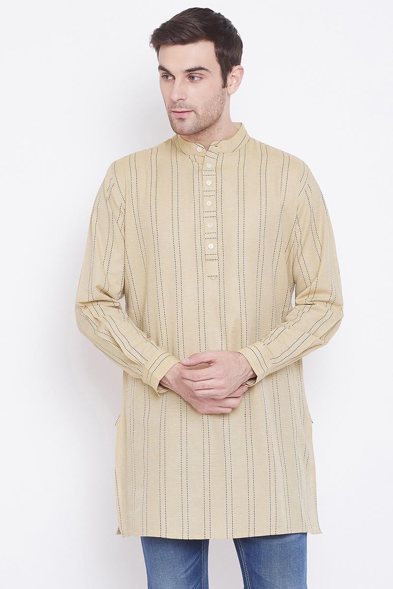 Cotton Fabric Cream Color Function Wear Kurta