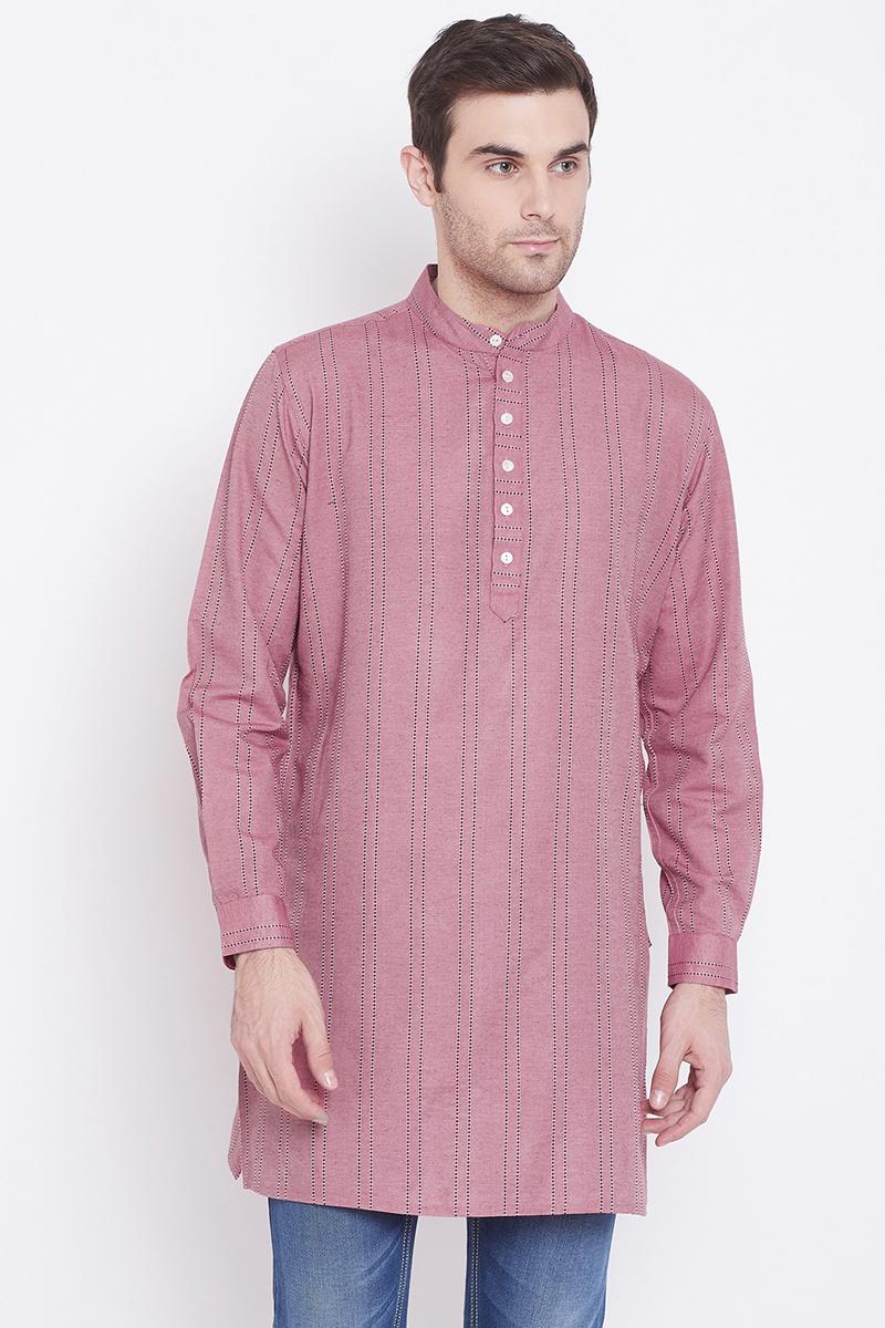 Pink Color Cotton Fabric Designer Kurta