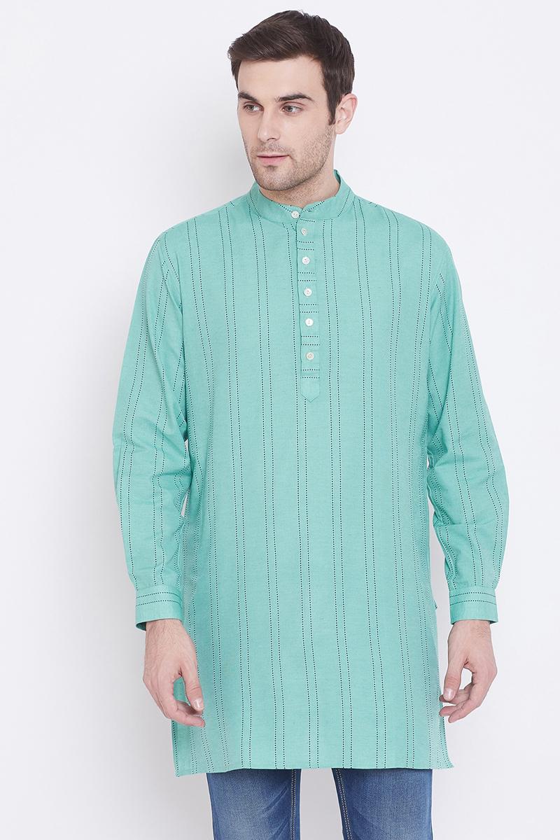 Mens Function Wear Cotton Fabric Light Turquoise Color Kurta