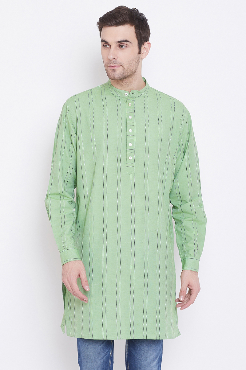Function Wear Cotton Fabric Kurta In Sea Green Color For Men