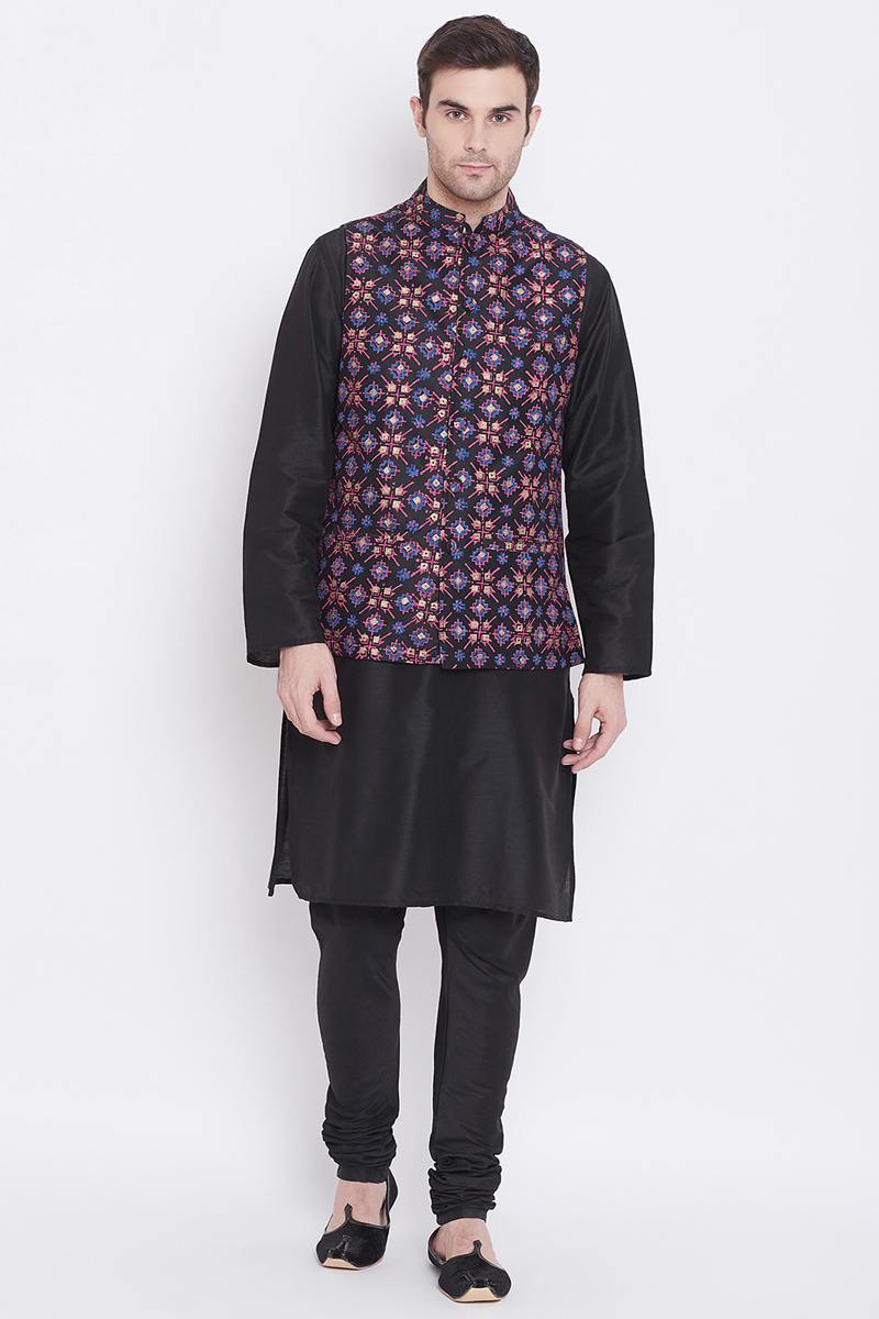 Art Silk Fabric Black Color Function Wear Kurta Pyjama With Designer Jacket
