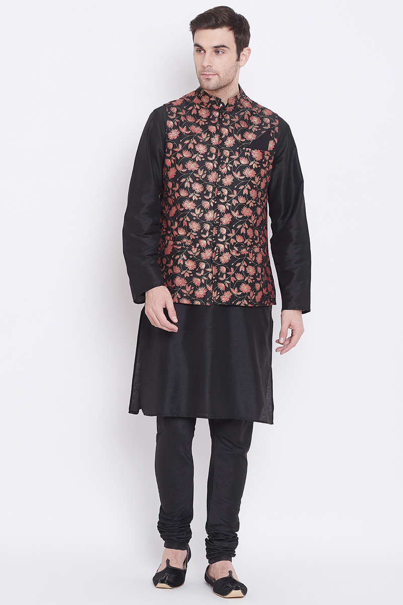 Black Color Art Silk Fabric Designer Kurta Pyjama With Stylish Jacket