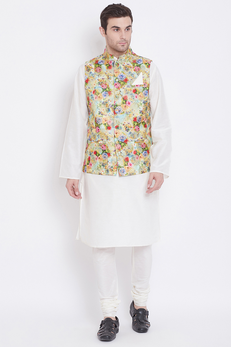 Mens Function Wear Art Silk Fabric White Color Kurta Pyjama With Nehru Jacket