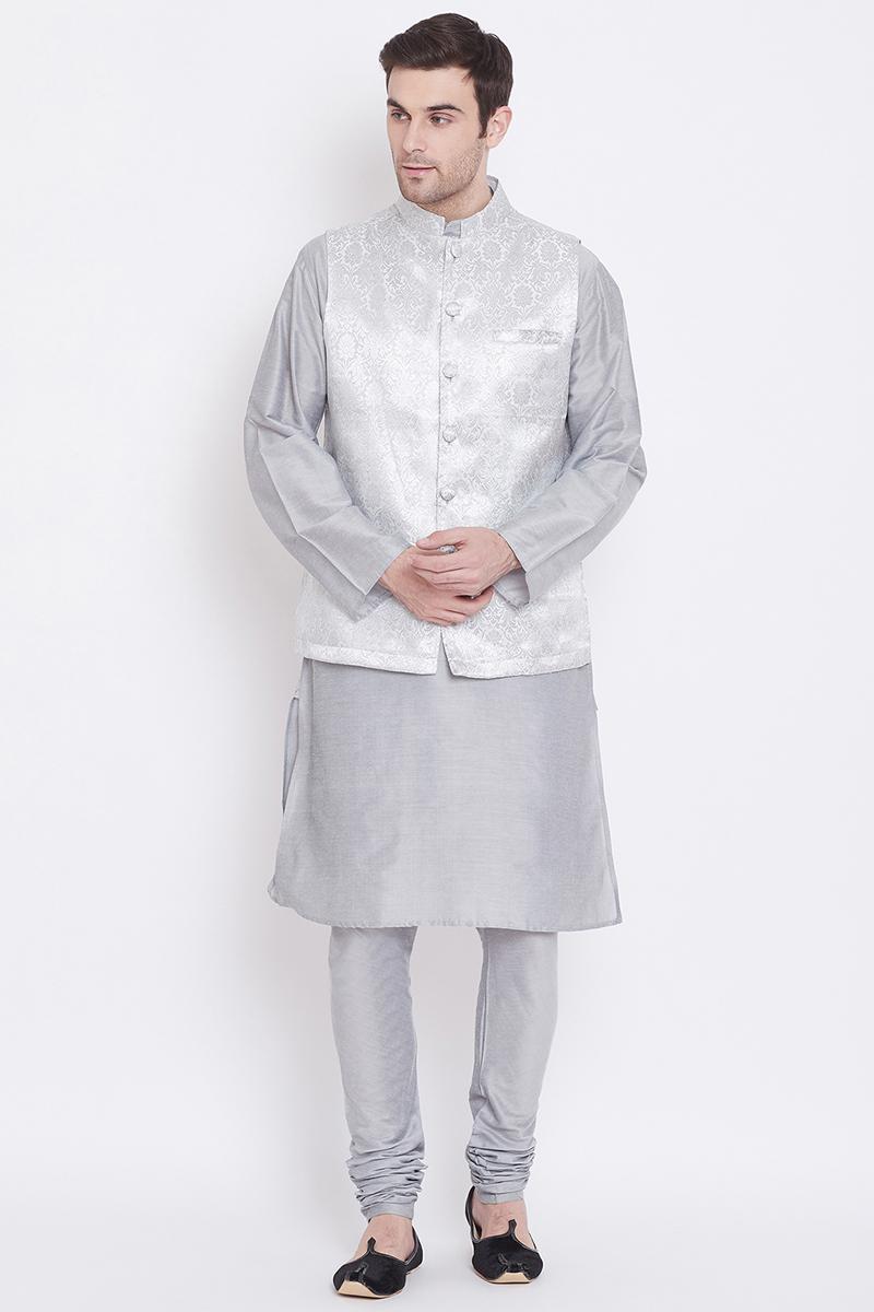 Function Wear Art Silk Fabric Kurta Pyjama In Silver Color With Modi Jacket