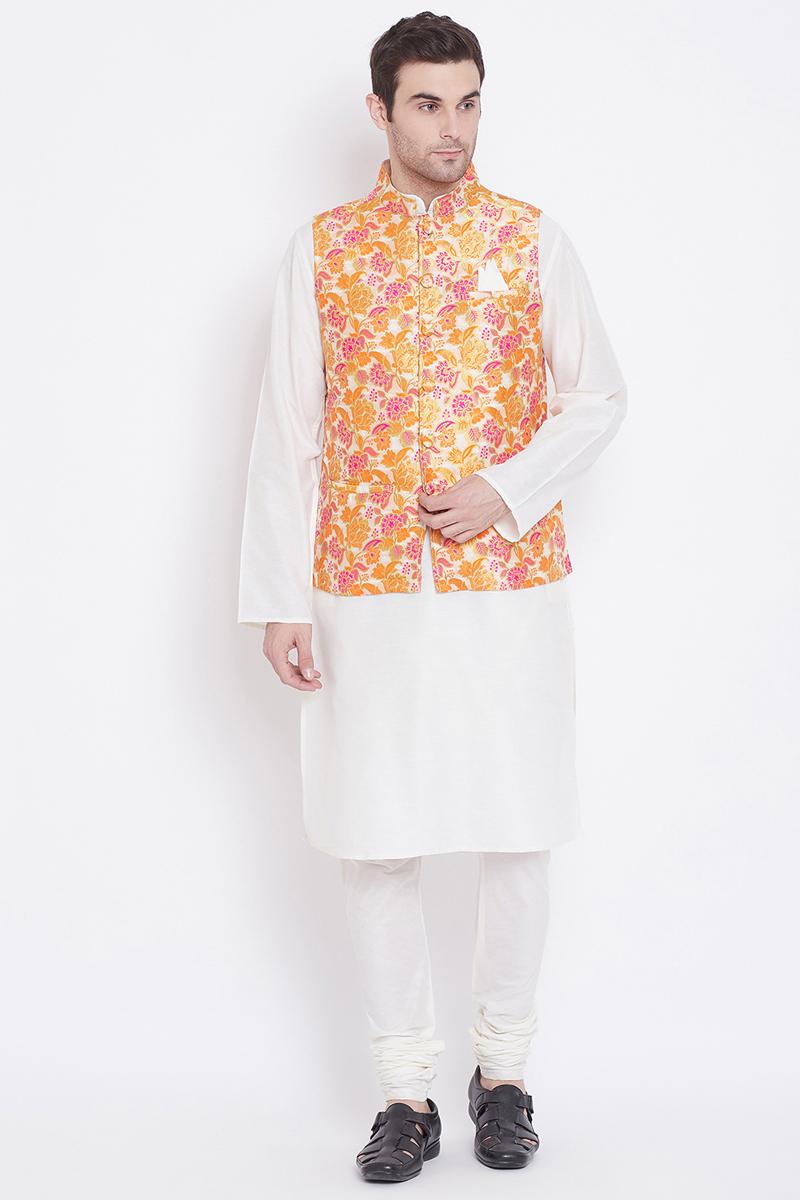 Mens Function Wear Art Silk Fabric White Color Kurta Pyjama With Fancy Jacket