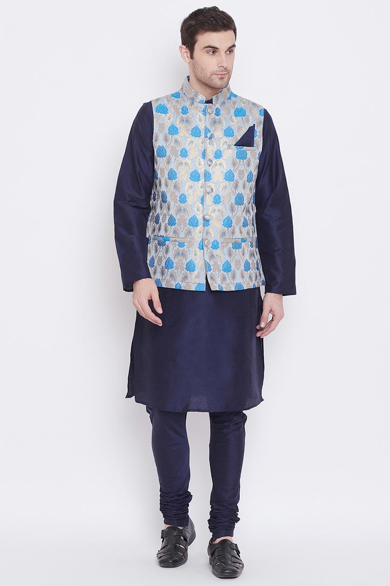 Navy Blue Color Art Silk Fabric Function Wear Fancy Kurta Pyjama With Designer Jacket