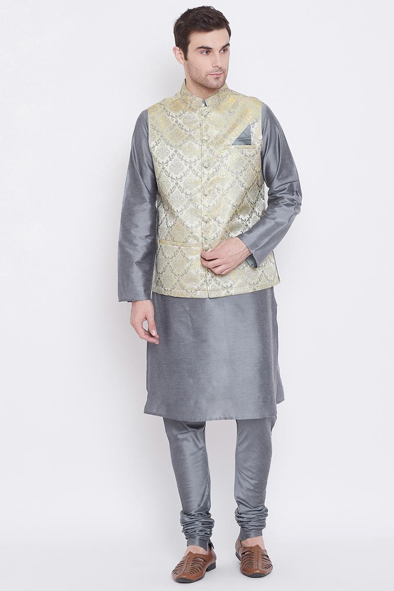 Art Silk Fabric Festive Wear Stylish Kurta Pyjama In Grey Color With Jacket