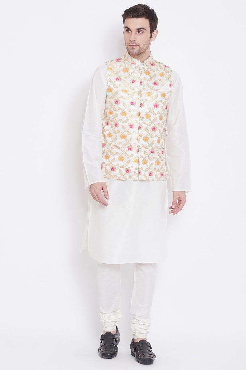 White Color Art Silk Fabric Function Wear Kurta Pyjama With Nehru Jacket