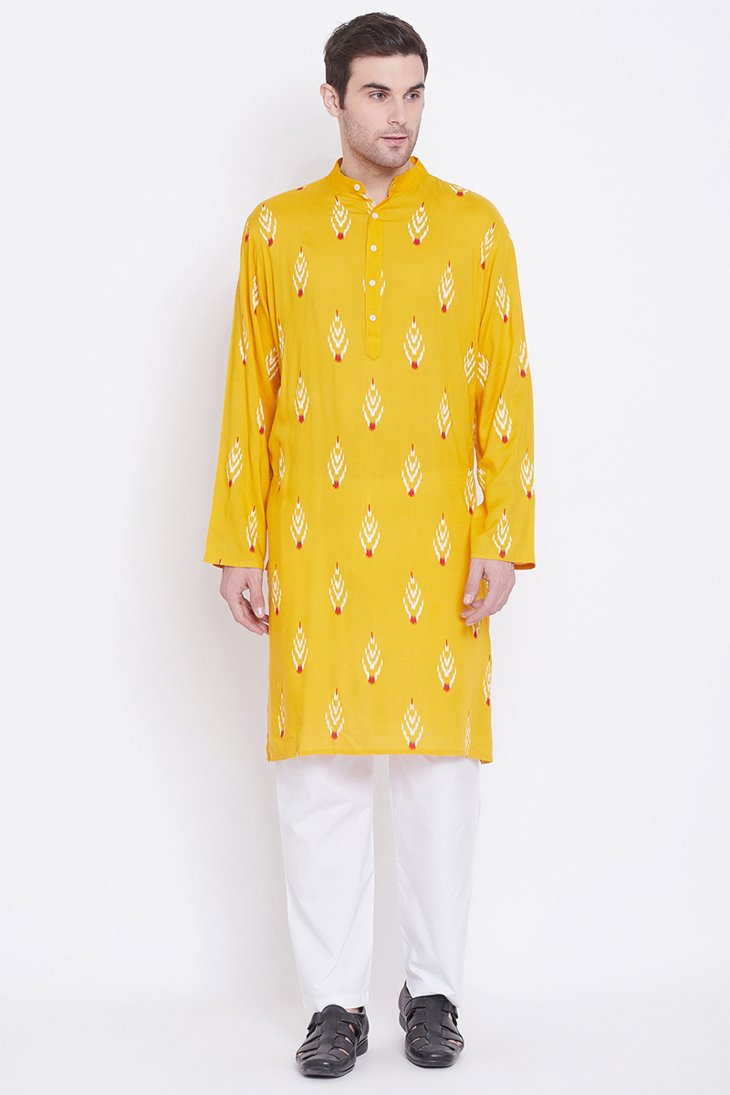 Sangeet Wear Rayon Fabric Kurta Pyjama In Yellow Color For Men