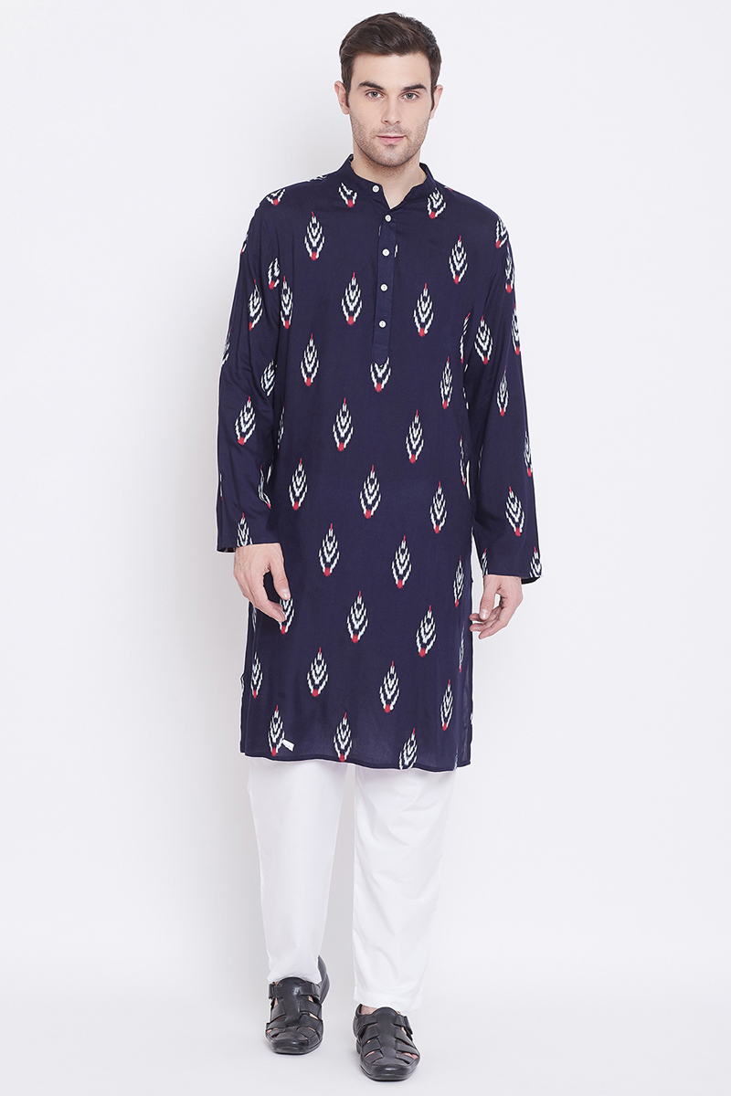 Rayon Fabric Navy Blue Color Function Wear Kurta Pyjama