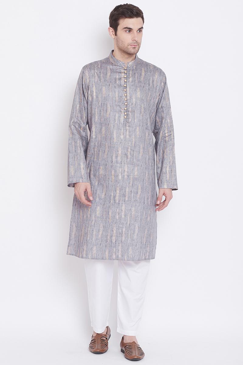 Grey Color Cotton Fabric Designer Kurta Pyjama
