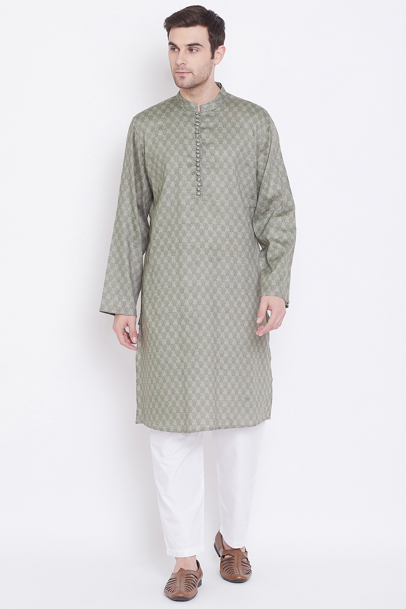 Function Wear Cotton Fabric Kurta Pyjama In Grey Color For Men