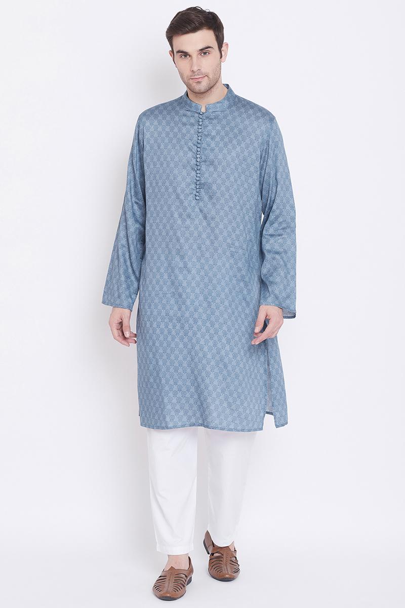 Mens Function Wear Blue Color Kurta Pyjama