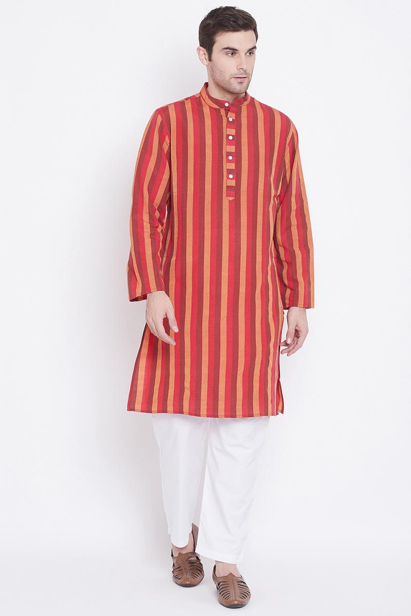Cotton Fabric Maroon Color Function Wear Kurta Pyjama