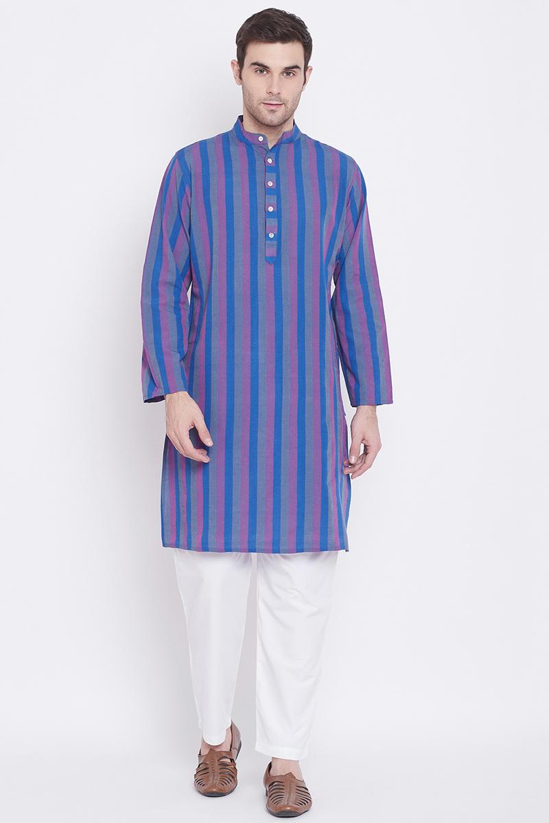 Function Wear Cotton Fabric Kurta Pyjama In Blue Color