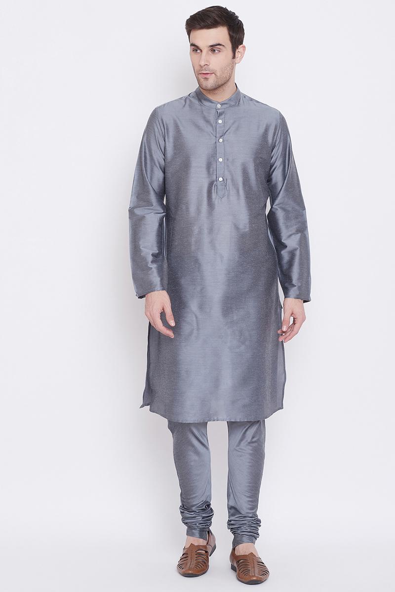 Grey Color Art Silk Fabric Function Wear Fancy Kurta Pyjama