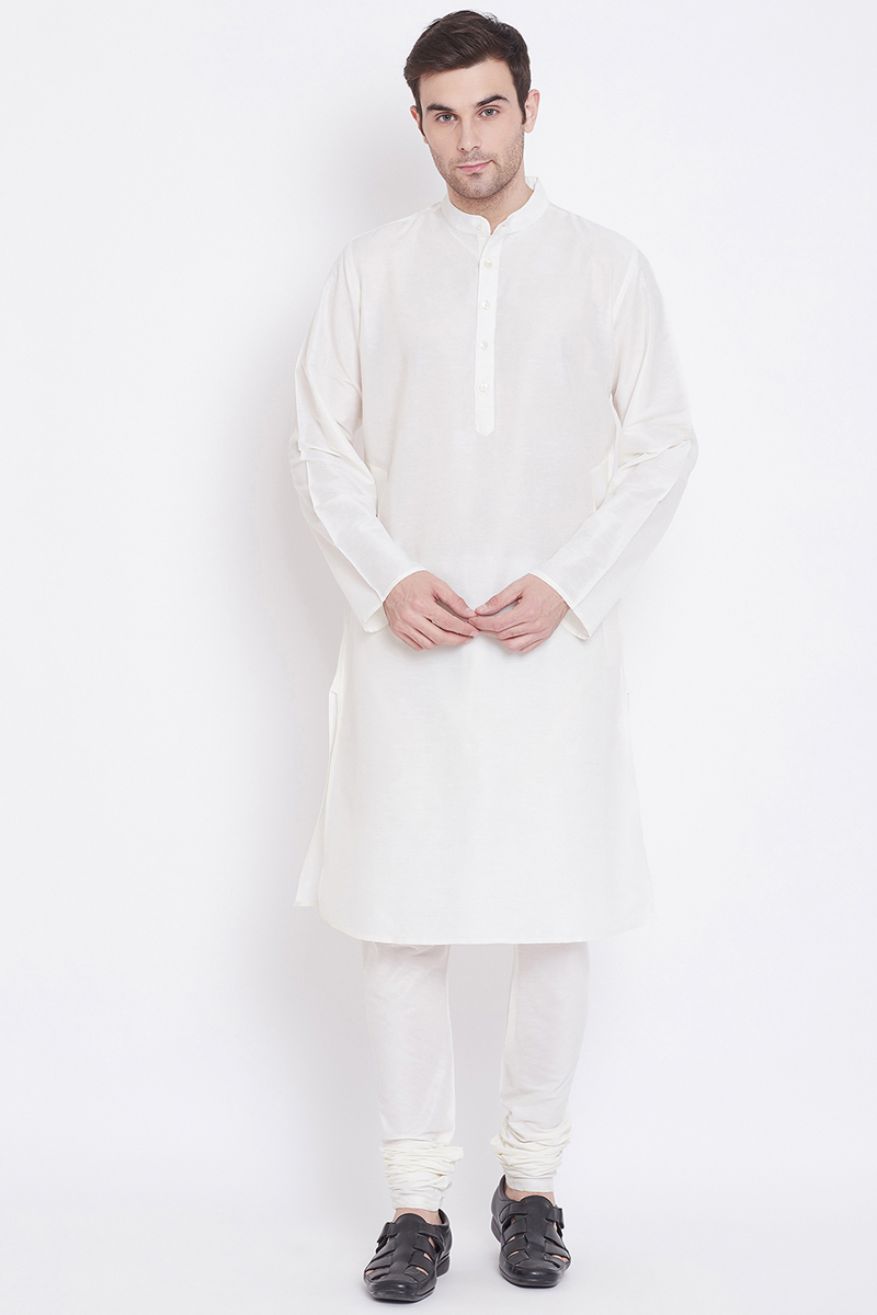 White Color Art Silk Fabric Function Wear Kurta Pyjama