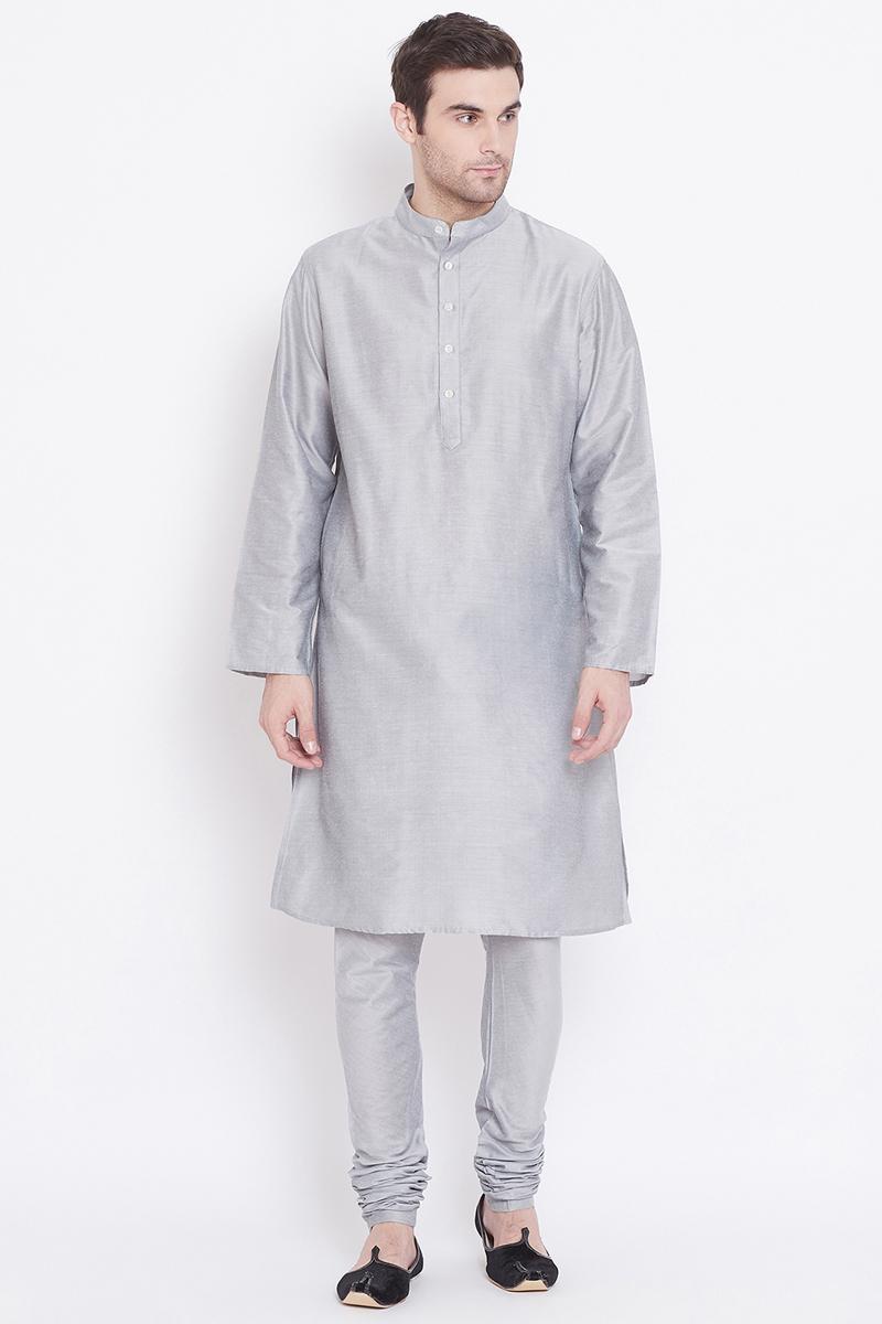 Art Silk Fabric Festive Wear Kurta Pyjama In Silver Color