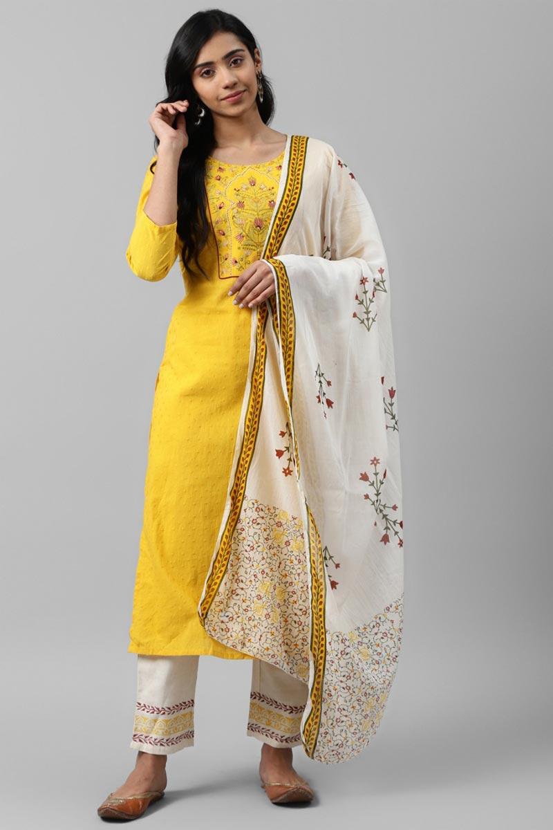 Exclusive Yellow Color Cotton Fabric Readymade Kurta Bottom And Dupatta Set