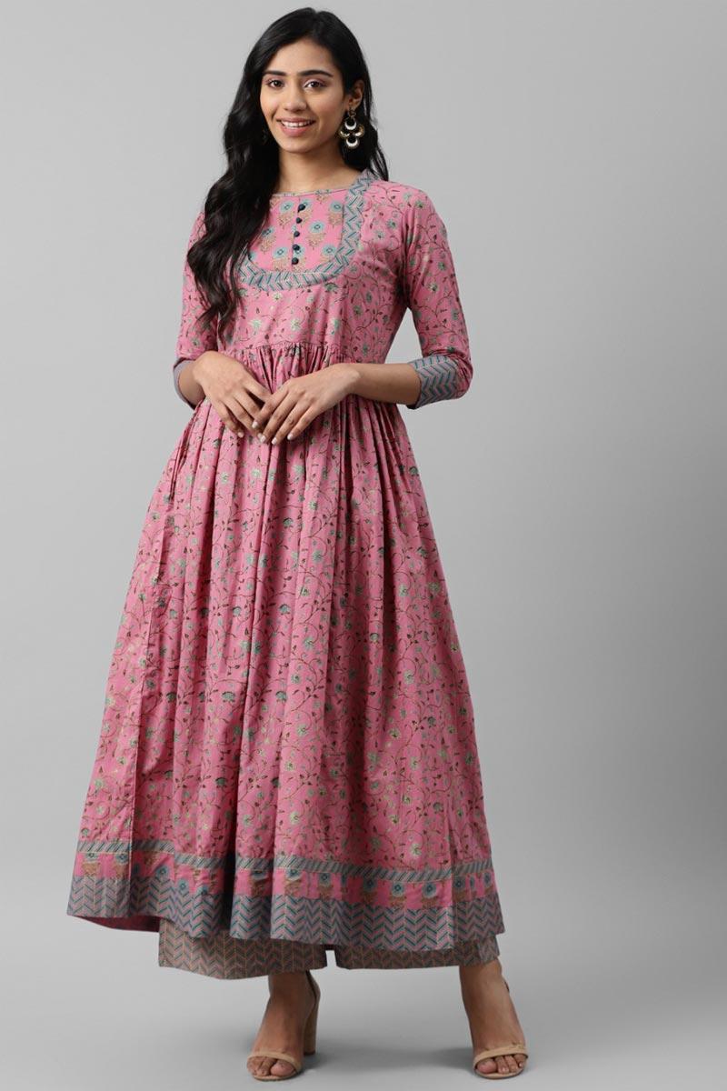 Exclusive Pink Color Cotton Fabric Readymade Kurta