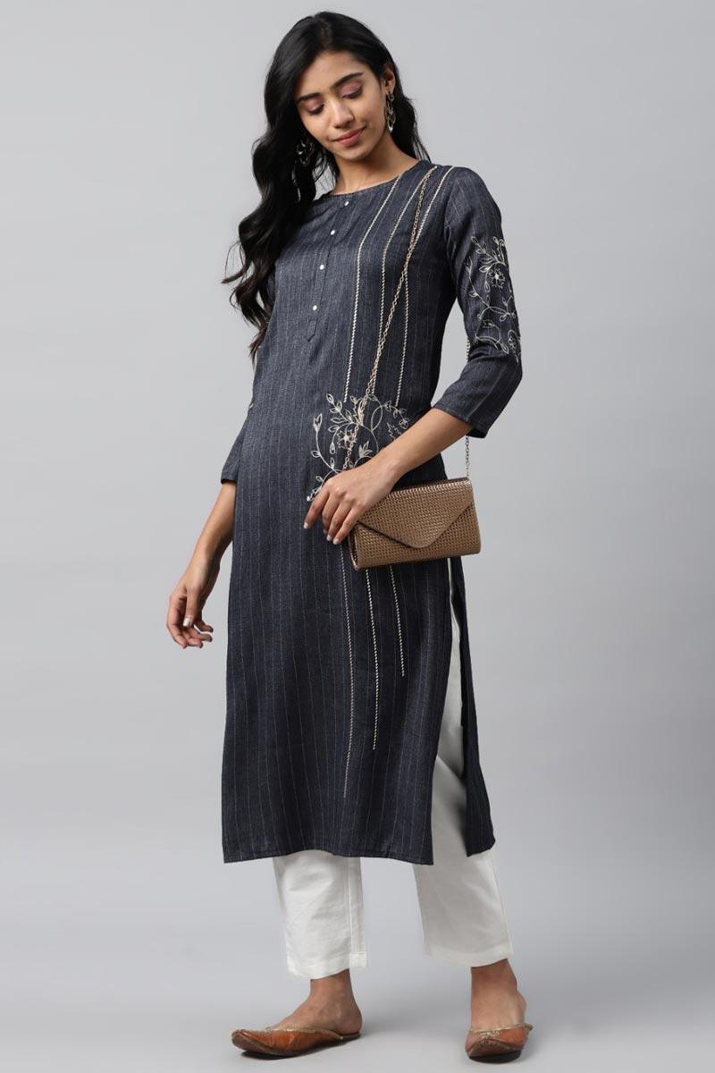 Exclusive Grey Color Rayon Fabric Readymade Kurta