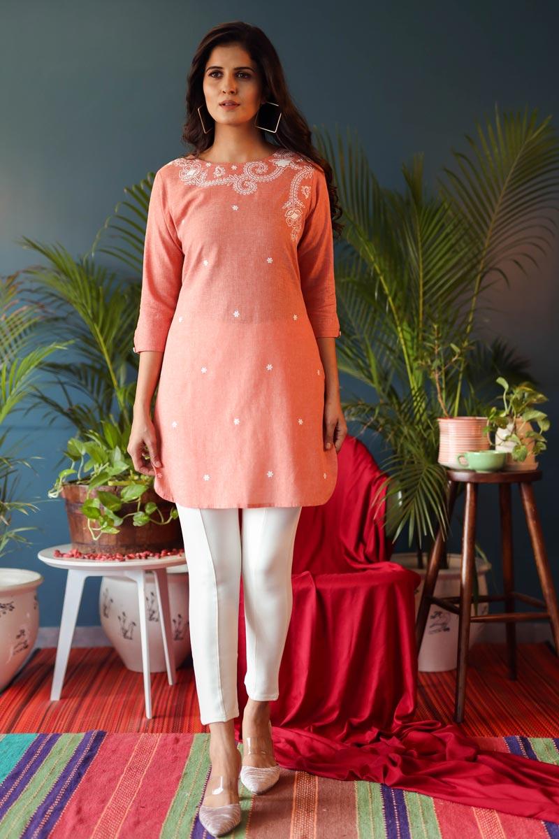 Exclusive Peach Color Designer Round Neck Plain Tops