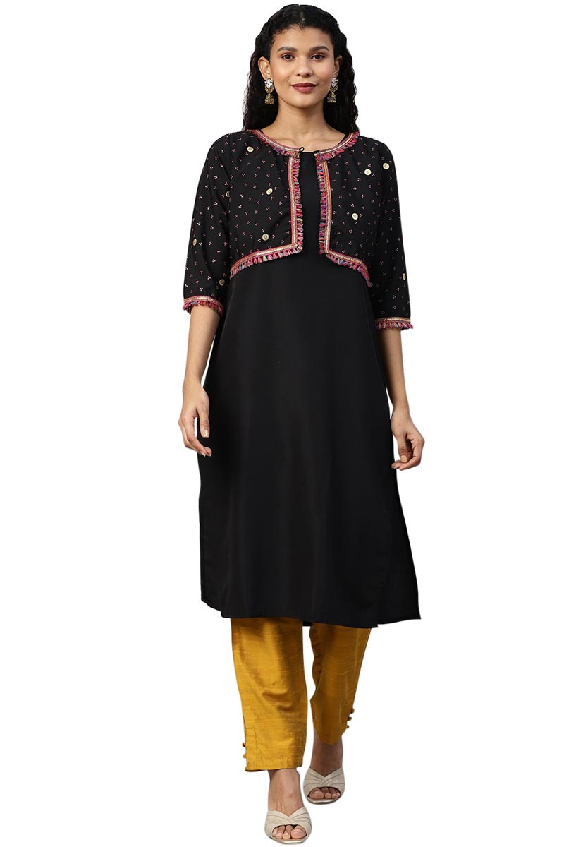 Exclusive Black Color Crepe Fabric Solid Kurti With Printed Jacket
