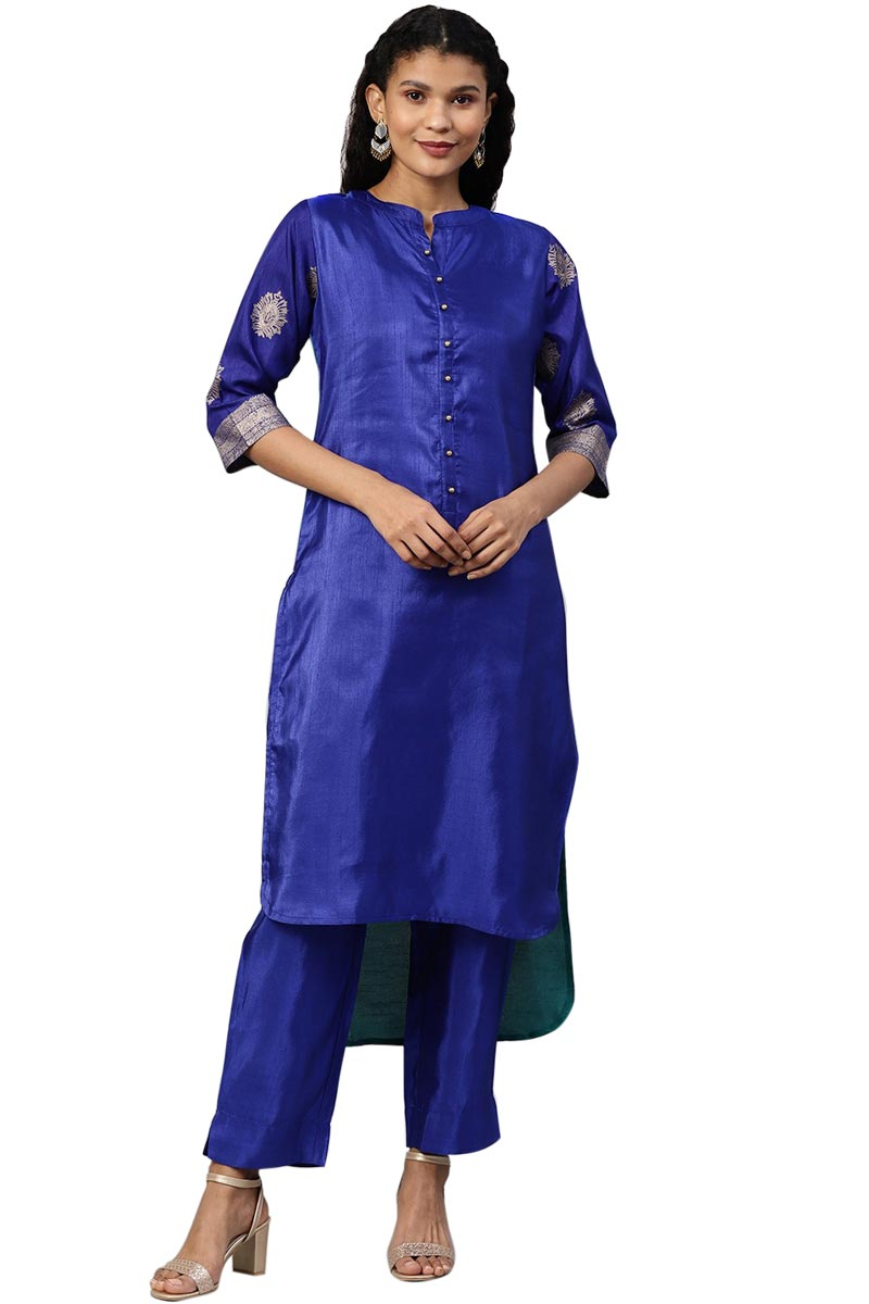 Exclusive Blue Color Art Silk Fabric High Low Hem Pathani Kurti Set