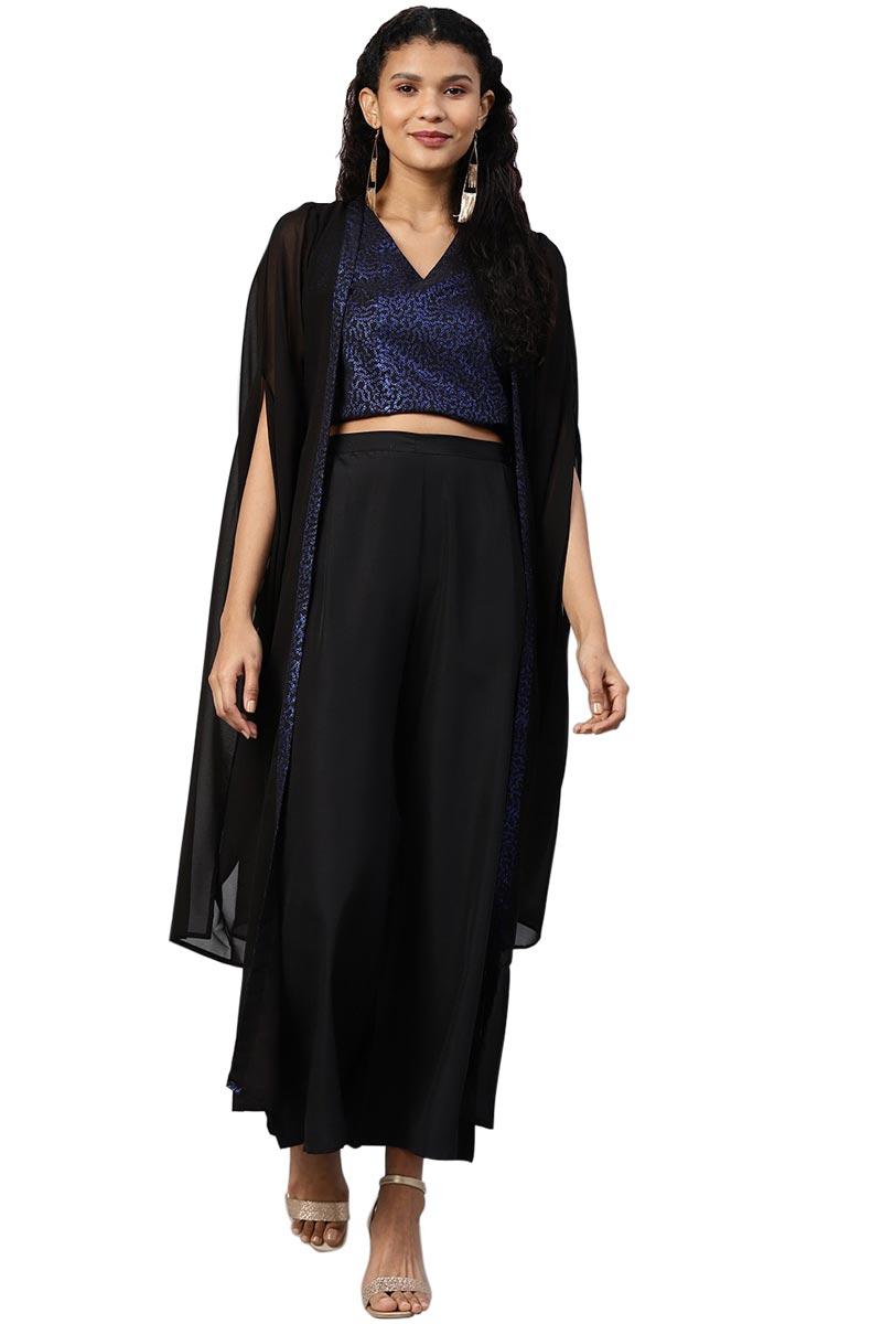 Exclusive Black Color Crepe Fabric Crop Top Jacket With Palazzo Set