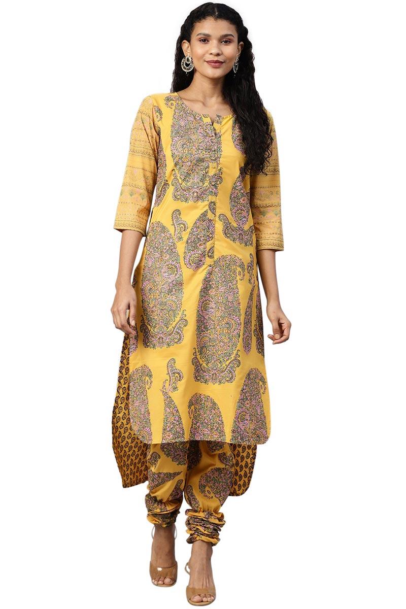 Exclusive Yellow Color Crepe Fabric Printed Kurti With Churidar Set