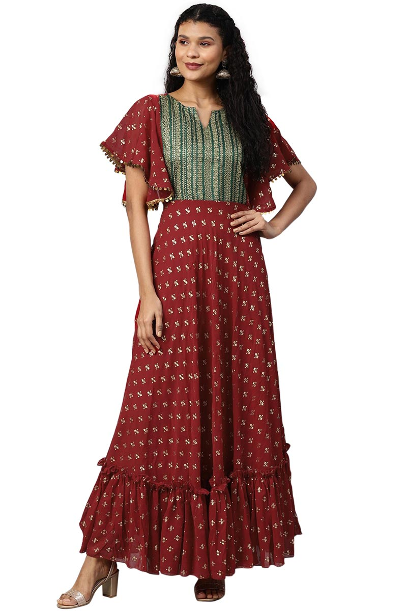 Exclusive Maroon Color Georgette Fabric Printed Kurti Dress