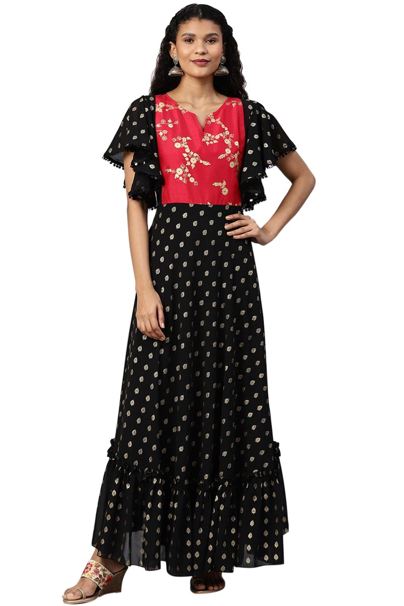 Exclusive Black Color Georgette Fabric Flared Ethnic Maxi Dress