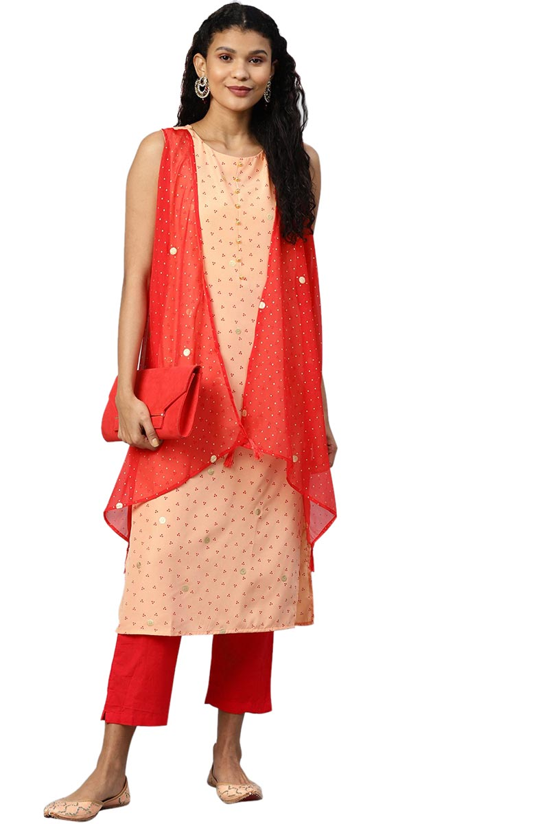 Exclusive Peach Color Crepe Fabric Printed Kurti With Attached Shrug