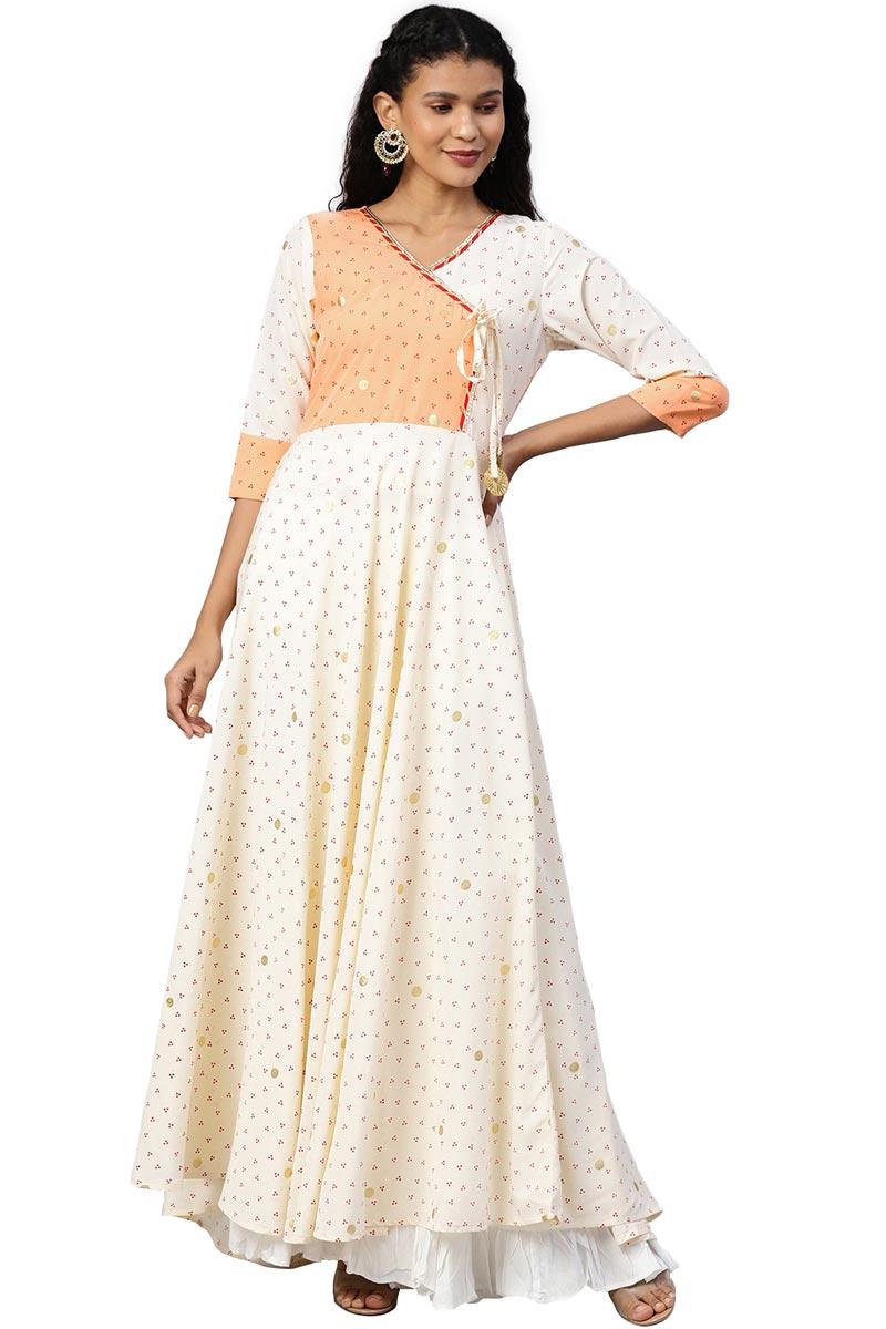 Exclusive Beige Color Crepe Fabric Angrakha Printed Long Kurti