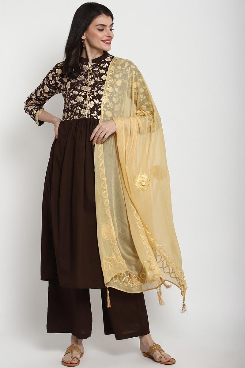 Exclusive Brown Color Cotton Fabric Kurti Palazzo Dupatta Set