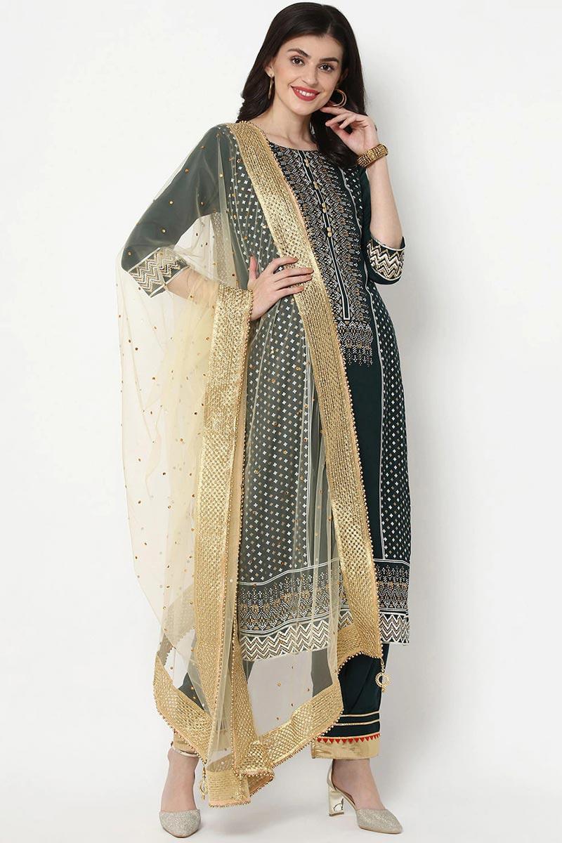 Exclusive Teal Color Cotton Fabric Kurti Pant Dupatta Set